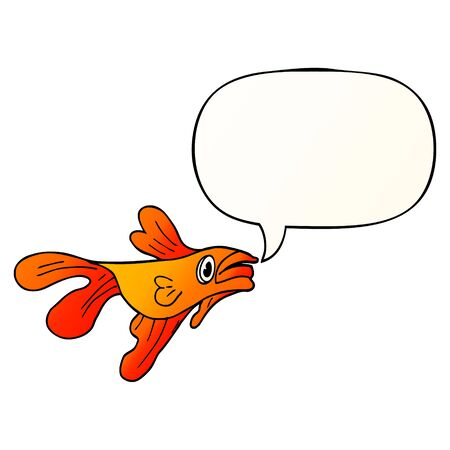cartoon fighting fish with speech bubble in smooth gradient style