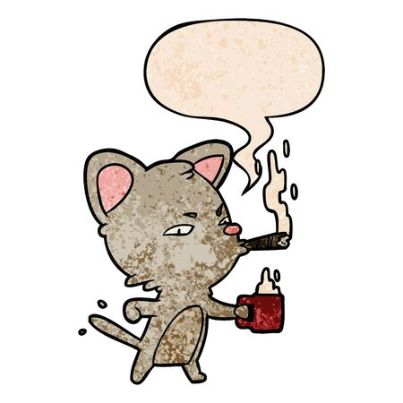 cartoon serious business cat with coffee and cigar with speech bubble in retro texture style