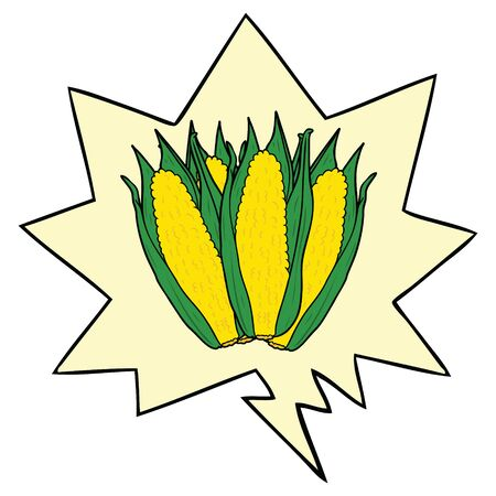 cartoon organic corn with speech bubble