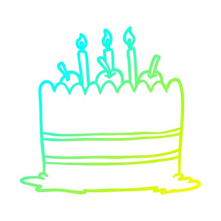 cold gradient line drawing of a birthday cake  イラスト・ベクター素材
