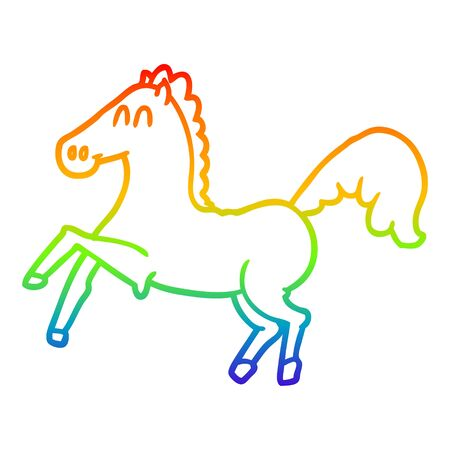 rainbow gradient line drawing of a cartoon horse rearing up