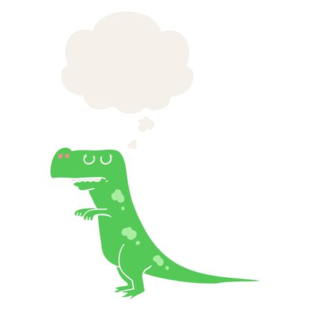 cartoon dinosaur with thought bubble in retro style