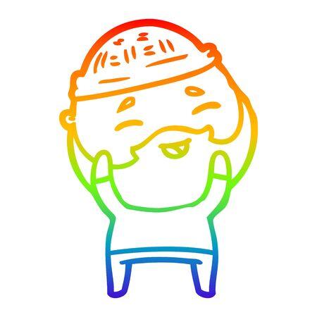 rainbow gradient line drawing of a cartoon happy bearded man