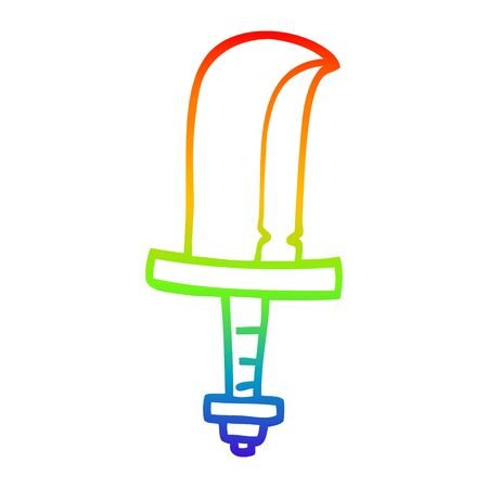 rainbow gradient line drawing of a cartoon golden sword 写真素材 - 129278824
