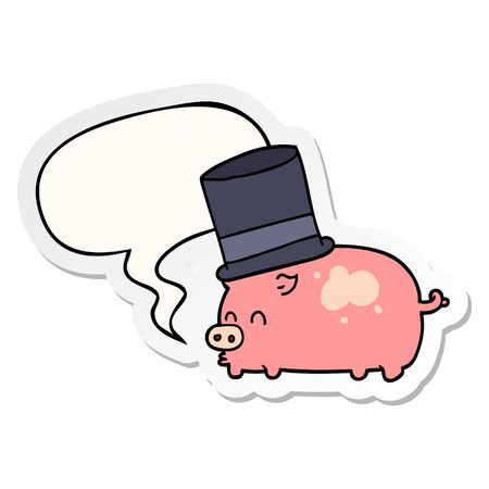 cartoon pig wearing top hat with speech bubble sticker Ilustração