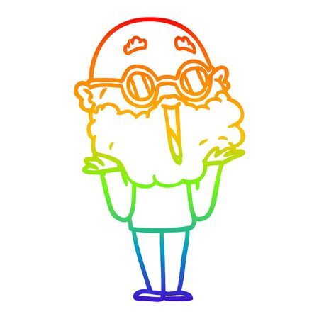 rainbow gradient line drawing of a cartoon joyful man with beard shrugging Illustration