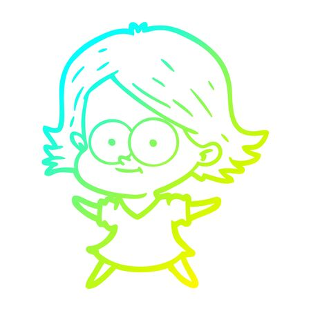 cold gradient line drawing of a happy cartoon girl 向量圖像