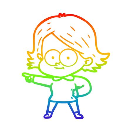 rainbow gradient line drawing of a happy cartoon girl