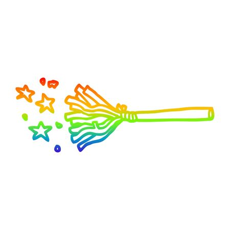 rainbow gradient line drawing of a cartoon magic broom