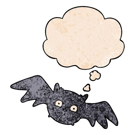 cartoon halloween bat with thought bubble in grunge texture style