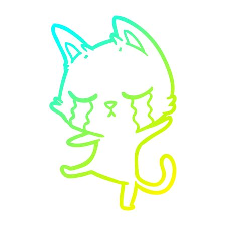 cold gradient line drawing of a crying cartoon cat performing a dance Illustration