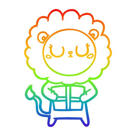 rainbow gradient line drawing of a cartoon lion with christmas present