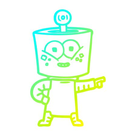 cold gradient line drawing of a happy cartoon robot pointing 向量圖像