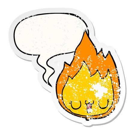 cartoon flame with face with speech bubble distressed distressed old sticker Ilustrace