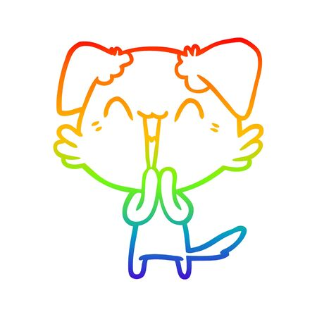 rainbow gradient line drawing of a laughing little dog cartoon
