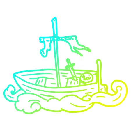 cold gradient line drawing of a old shipwrecked boat