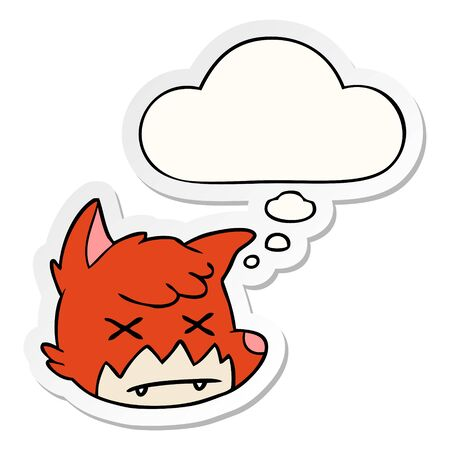 cartoon dead fox face with thought bubble as a printed sticker