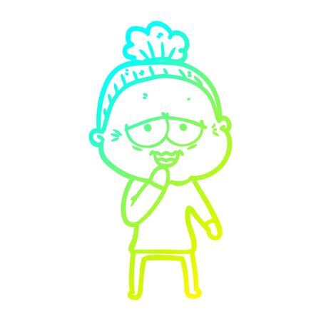 cold gradient line drawing of a cartoon happy old lady
