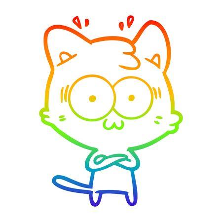 rainbow gradient line drawing of a cartoon surprised cat Illustration