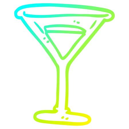cold gradient line drawing of a cartoon martini