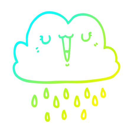 cold gradient line drawing of a cartoon storm cloud