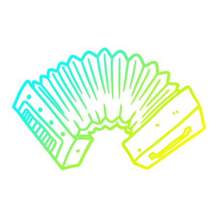 cold gradient line drawing of a cartoon accordion