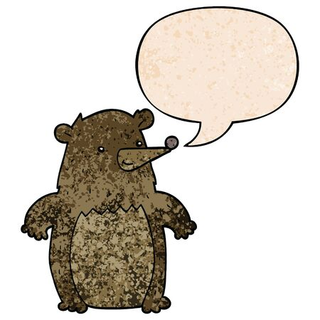 cartoon bear with speech bubble in retro texture style