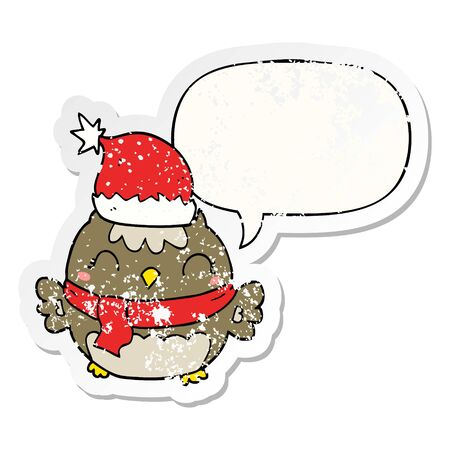 cute christmas owl with speech bubble distressed distressed old sticker