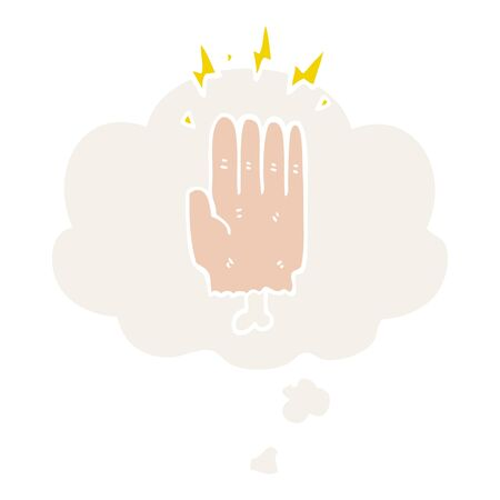 cartoon magic halloween zombie hand with thought bubble in retro style