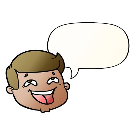 happy cartoon male face with speech bubble in smooth gradient style
