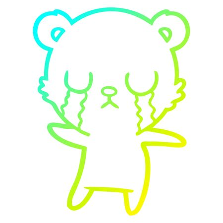 cold gradient line drawing of a crying polar bear cartoon