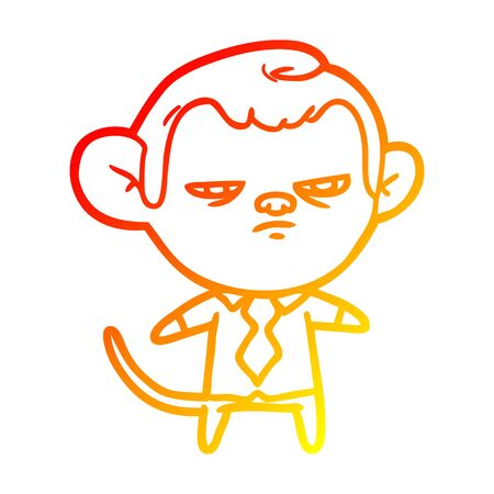 warm gradient line drawing of a cartoon monkey Ilustrace