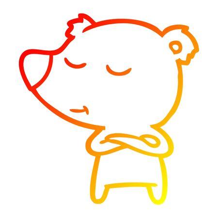 warm gradient line drawing of a happy cartoon bear 向量圖像