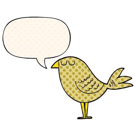 cartoon bird with speech bubble in comic book style Ilustrace