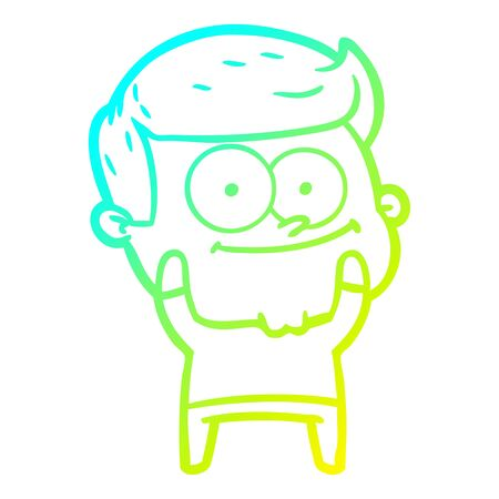 cold gradient line drawing of a cartoon happy man 向量圖像