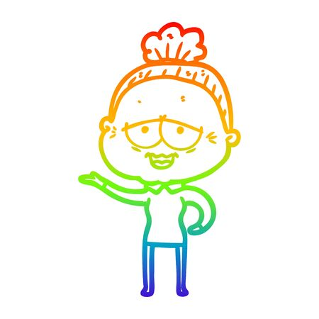 rainbow gradient line drawing of a cartoon happy old lady