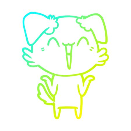 cold gradient line drawing of a happy little dog cartoon