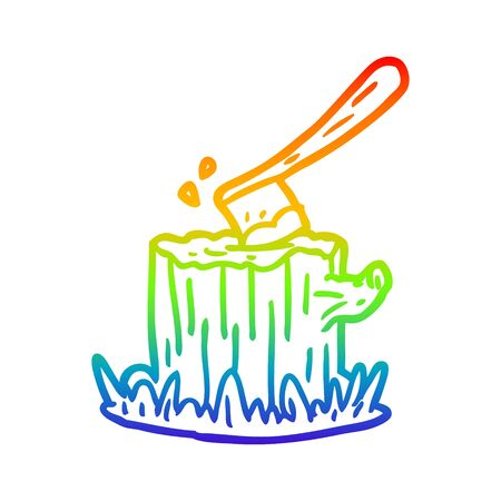 rainbow gradient line drawing of a axe stuck in tree stump Illustration