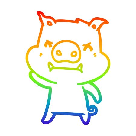 rainbow gradient line drawing of a angry cartoon pig