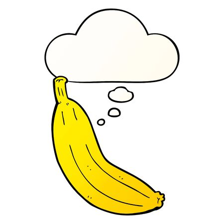 cartoon banana with thought bubble in smooth gradient style Imagens - 129279001