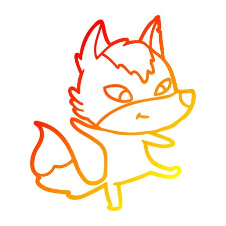 warm gradient line drawing of a friendly cartoon wolf dancing