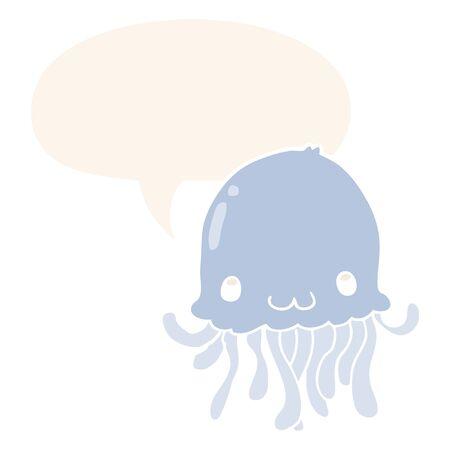 cartoon jellyfish with speech bubble in retro style Ilustrace