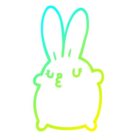 cold gradient line drawing of a cute cartoon rabbit