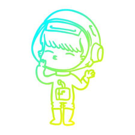 cold gradient line drawing of a cartoon curious astronaut wondering Illusztráció