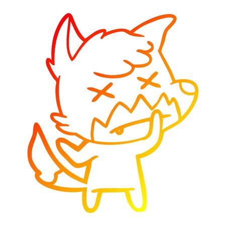 warm gradient line drawing of a cartoon dead fox Ilustrace