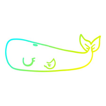cold gradient line drawing of a cartoon whale