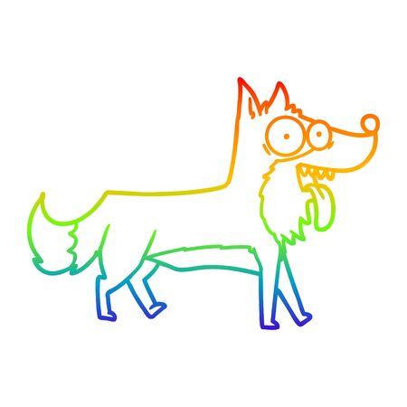 rainbow gradient line drawing of a cartoon happy dog