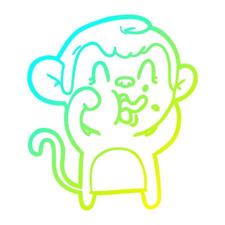 cold gradient line drawing of a crazy cartoon monkey Ilustrace
