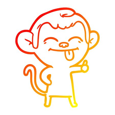 warm gradient line drawing of a funny cartoon monkey