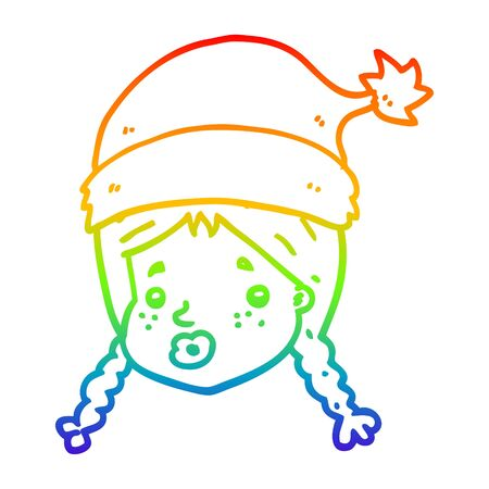 rainbow gradient line drawing of a cartoon girl wearing christmas hat